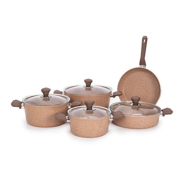 Pentola 9 Pieces Granite Cookware Set Brown image number 1