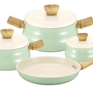 طقم أدوات طهي سيراميك 7 قطع لون أخضر