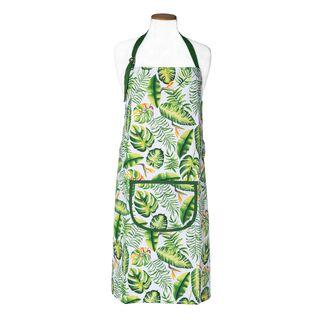 Kitchen Apron With Pocket Leaves Green Design
