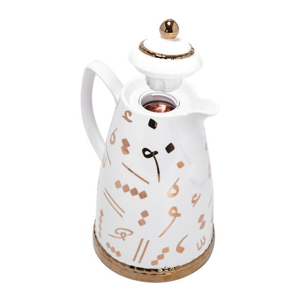 Dallety Porcelain Vacuum Flask Tashkeel White 900Ml image number 1