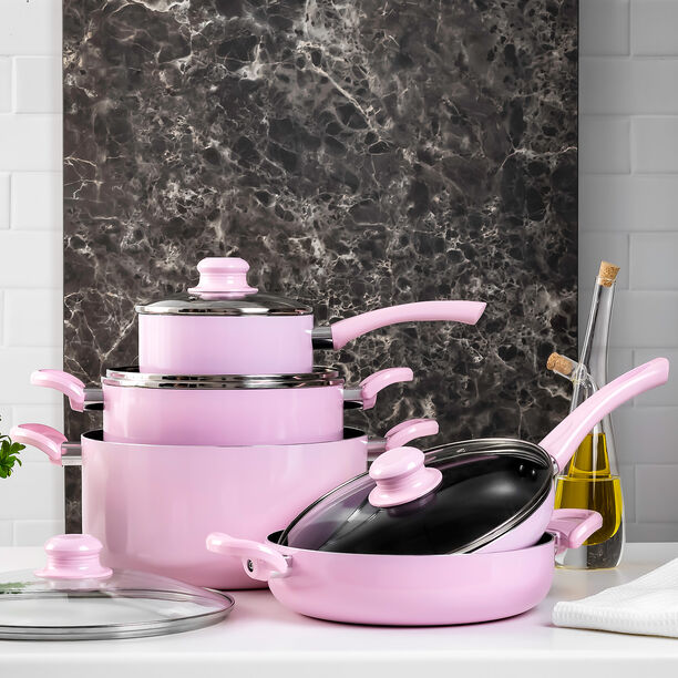 Alberto Non Stick Cookware Set 9 Pieces Pink Color image number 0