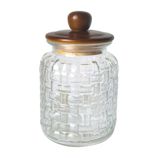 Alberto Glass Storage Jar With Wooden Lid V:1650Ml