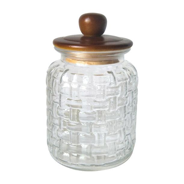 Alberto Glass Storage Jar With Wooden Lid V:1650Ml image number 0