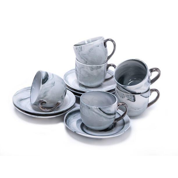 طقم أكواب الشاي 12 قطعة تصميم الرخام image number 1