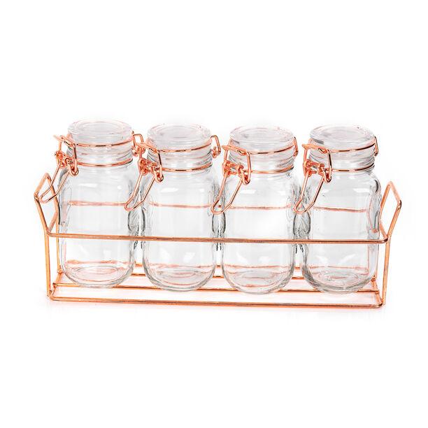 طقم برطمانات زجاج 4 قطع بغطاء وحامل معدني من البرتو image number 1