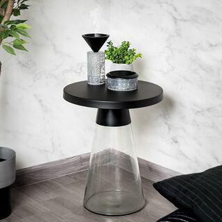 طاولة جانبية من الزجاج و المعدن