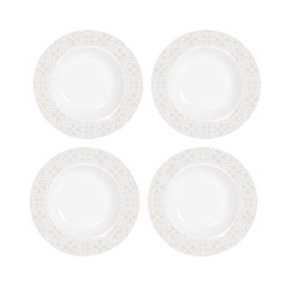 "La Mesa Portu Casa 4 Pieces Set 8.75"" Soup Prmu Plate New Bone"