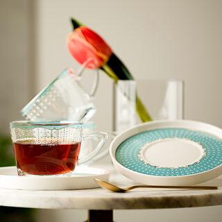 English Tea Set Glass 8Pc Dot Green Serv 4Ppl