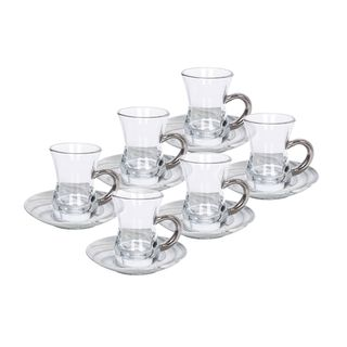 La Mesa Arabic Tea 12 Pieces Set Grey Marble And Silver