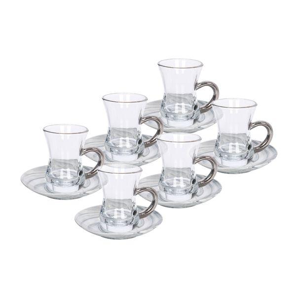 La Mesa Arabic Tea 12 Pieces Set Grey Marble And Silver image number 0