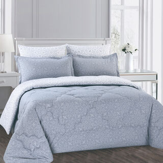Cottage 3 Pieces Comforter Set Twin Size Camlica Gray