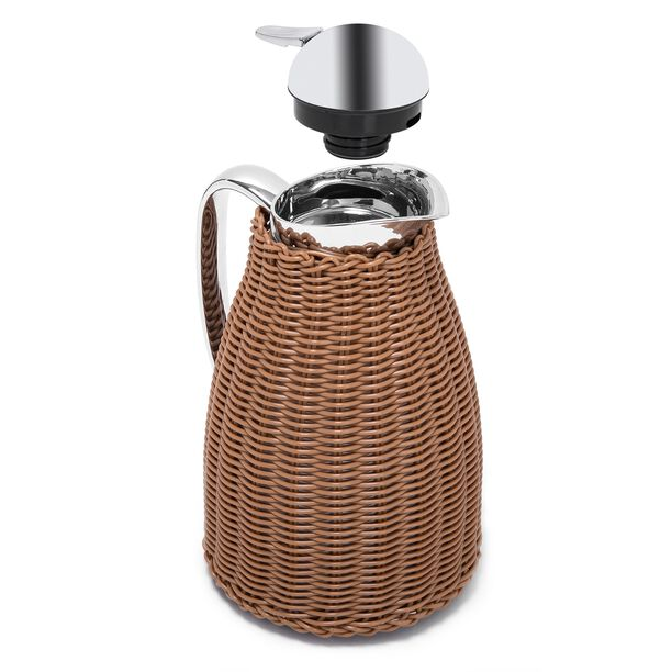 Dallaty Stainless Steel Vacuum Flask Rattan With Design Of Bamboo Light Brown 1L image number 2