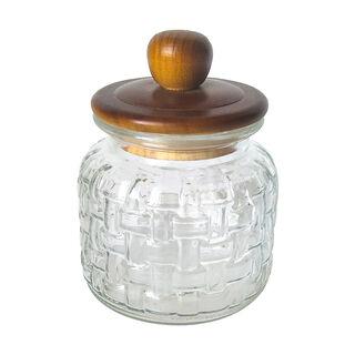 برطمان تخزين زجاجي بغطاء خشبي سعة 1350مل من البرتو