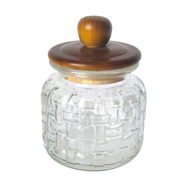 Alberto Glass Storage Jar With Wooden Lid V:1350Ml image number 0