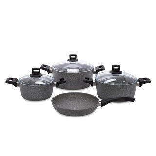 Alberto Granite Cookware Set 7 Pieces Graystone
