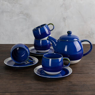 La Mesa 5 Pieces Porcelain English Tea Set Mystery Blue