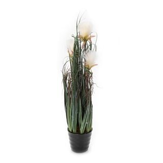 Artificial Plant Dandelion X3 With Pot White Polyester And Iron Wire