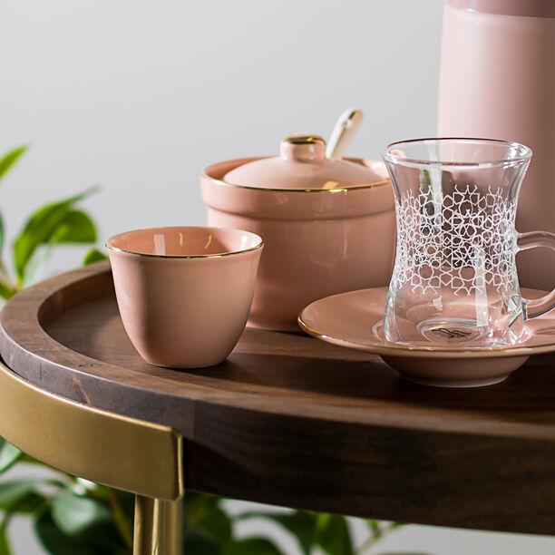 طقم شاي وقهوة 20 قطعة لون وردي  image number 2