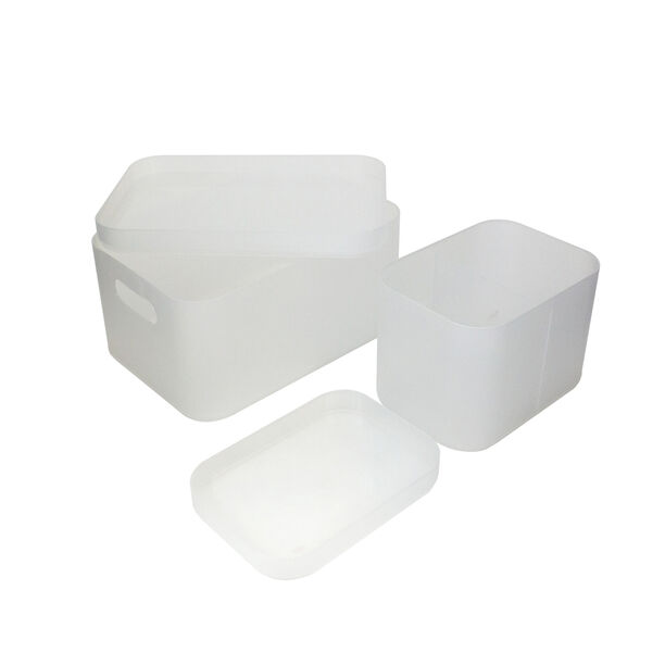 Plastic Storage Box Set Of 2 Material: Pp L:22.6*15.6*12.4Cm Frosty White image number 0