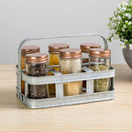 Alberto 6 Pieces Glass Mini Spice Jars With Copper Clip Lid And Metal Tray image number 4
