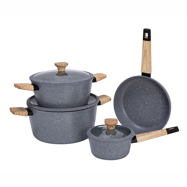 Alberto Aluminum Forged Cookware Set 7 Pieces Grey image number 1