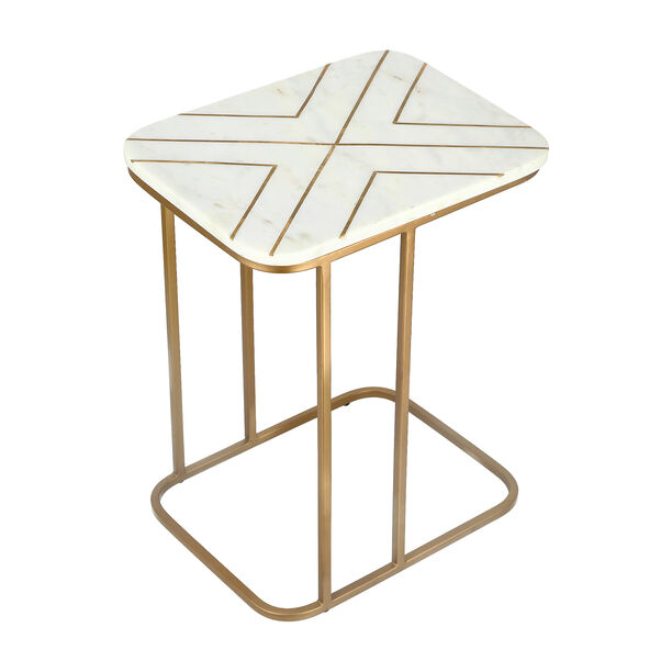 Sofa Side Table Gold And White Marble image number 2