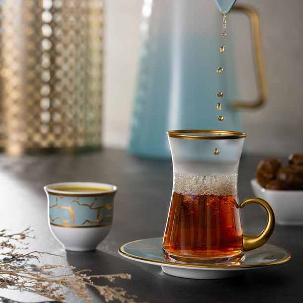 18Pcs Arabic Tea Set Dore Design image number 1