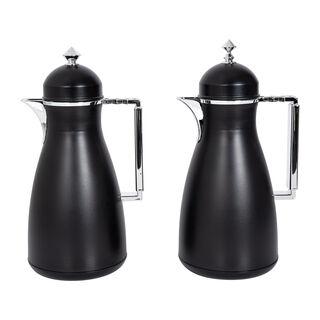 Dallaty 2 Pieces Plastic Vacuum Flask Koufa Black and Silver 1L