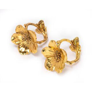 طقم خواتم مناديل شكل زهرة لون ذهبي قطعتين