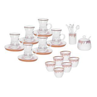 La Mesa 28 Pieces Porcelain Tea And Coffee Set White Rose Gold