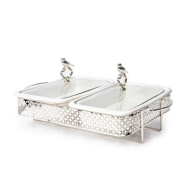 Twin Rectangle Casserole With Hanger And Warmer Stand  image number 0