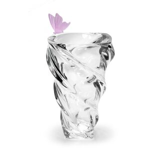 Decorative Vase Glass With Crystal Pink Butterfly
