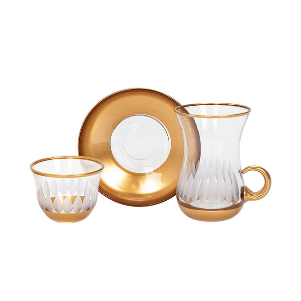 18 Pieces Glass Tea And Coffee Set Sunflower Gold image number 1