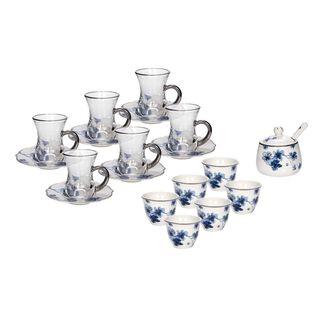 La Mesa Porcelain Tea And Coffee Set 21 Pieces Blue