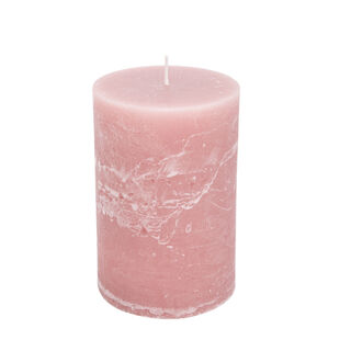 Pillar Candle Rustic, Dust Pink Hibiscus