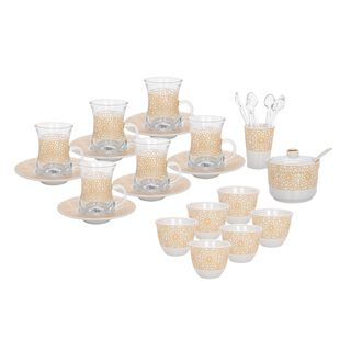 Zukhroof 28 Pieces Porcelain Tea And Coffee Set Othmani Yellow