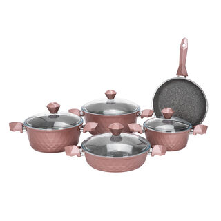 Alberto 9Pcs Diamond Cookware Set W/Glass Lid - Rose Color