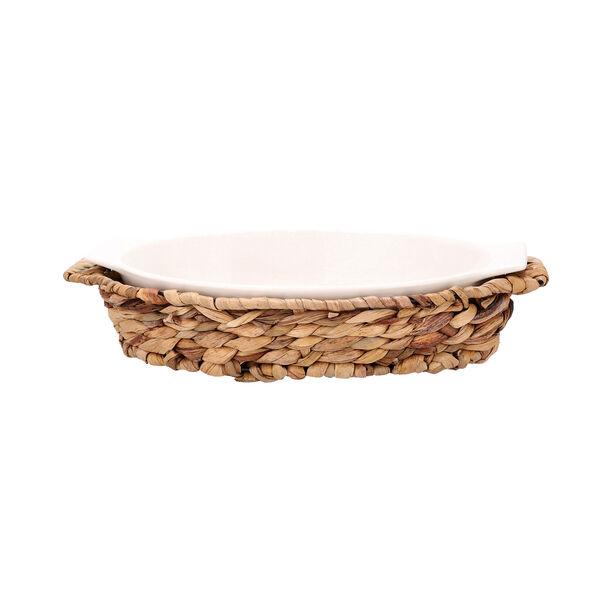 Porcelain Oval Dish With Rattan Basket image number 1