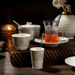 Zukhroof 28 Pieces Porcelain Tea And Coffee Set Othmani Gray Serve 6 image number 0