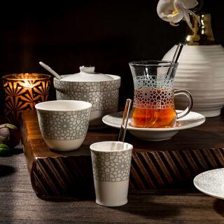 Zukhroof 28 Pieces Porcelain Tea And Coffee Set Othmani Gray Serve 6