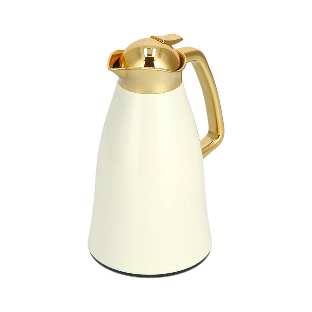 Vacuum Flask Chrome And Beige 1L image number 1