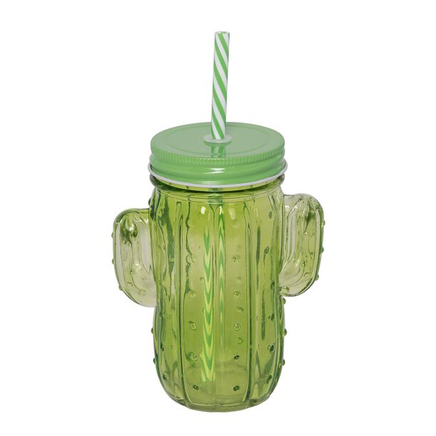 Glass Jar 450Ml With Straw Cactus Shape Colored Body image number 0