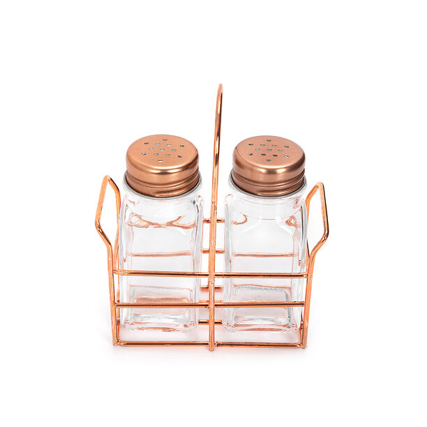 Alberto 2 Prieces Glass Salt And Pepper Set With Metal Stand image number 1