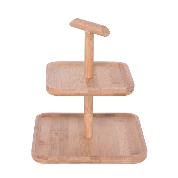 Bamboo Square 2 Storey Plates With Handle  image number 1