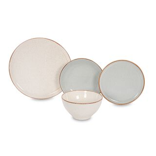 La Mesa Dinner Set 16 Pieces - Seasons Gray And Beige