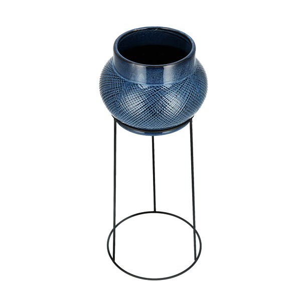 Ceramic Planter With Black Metal Stand Blue image number 2