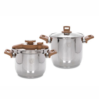 Alberto Pressure Cookers Set 2 Pieces With Wooden Handles
