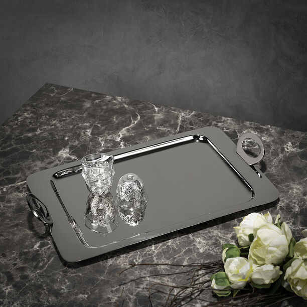 Steel With Wood Tray Rectangular Silver image number 4