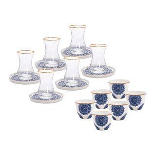 La Mesa Frills Tea And Coffee Set 18 Pieces Dark Blue