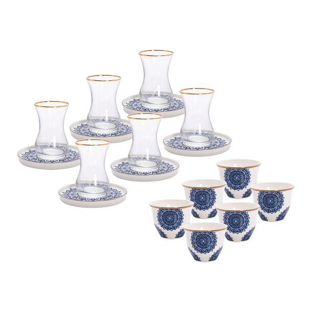 طقم شاي وقهوة عربي 18 قطعة لون كحلي من لاميسا image number 0